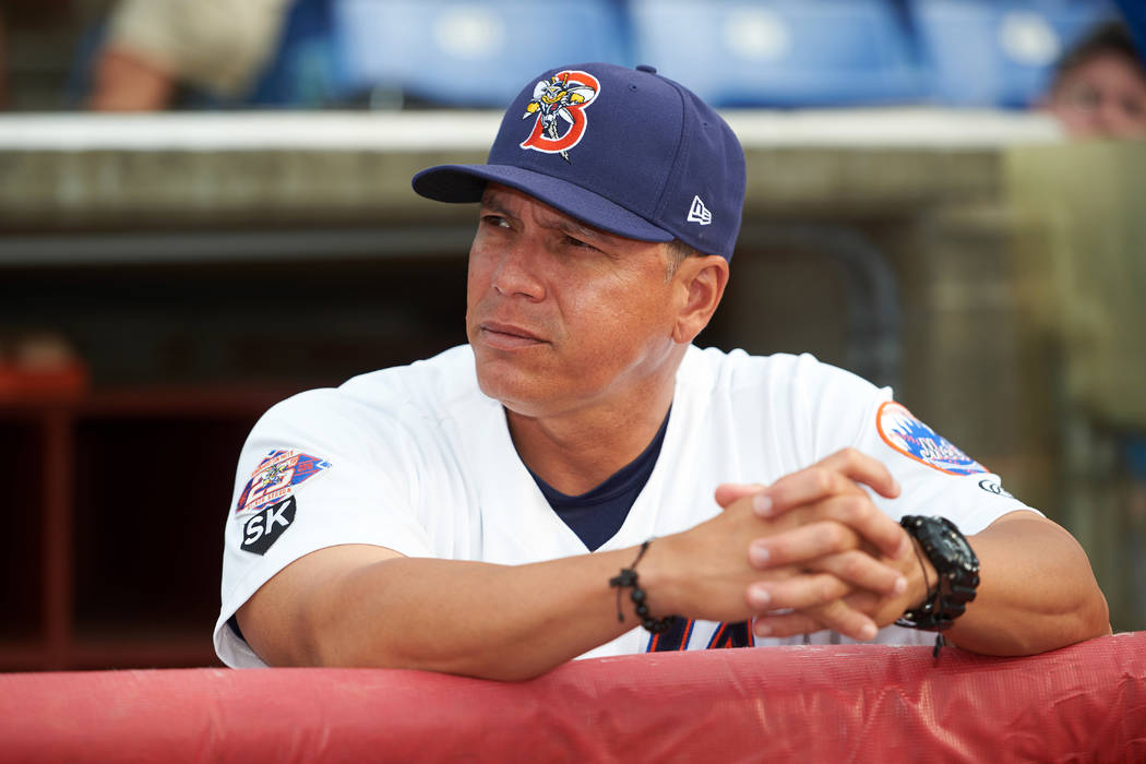 Binghamton Mets manager Pedro Lopez (16) before a game against the Trenton Thunder on May 29, 2016 at NYSEG Stadium in Binghamton, New York.  Trenton defeated Binghamton 2-0.  (Mike Janes/Four Sea ...