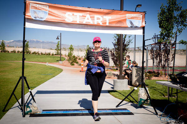 A runner finishes the Skye Canyon 5K on May 14, 2016. (Skye Canyon).