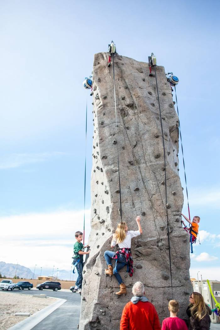 Las Vegas are children participate in the Skye Canyon rock climbing event on Jan. 23, 2016. (Sky Canyon).