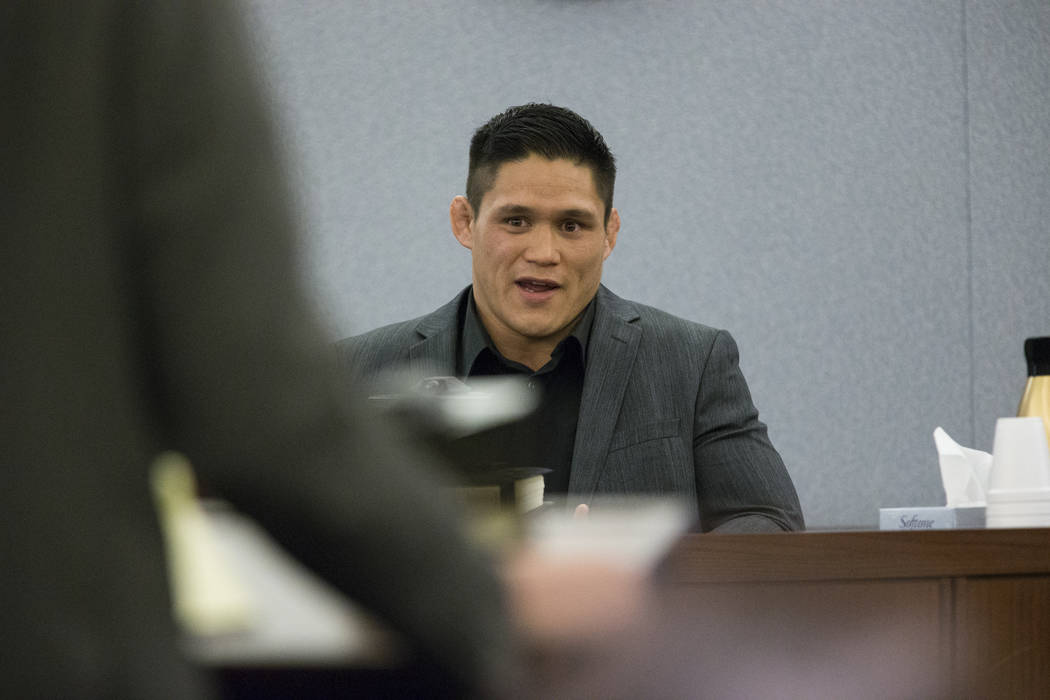 Herman Terrado on the witness stand during the trial for War Machine, also known as Jonathan Koppenhaver, who faces rape, attempted murder and kidnapping charges, at the Regional Justice Center on ...
