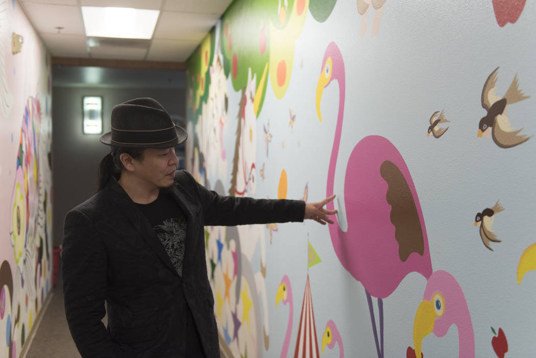 "Artist Sush Machida gives a tour of his mural entitled ""Hope Corridor"" at Child Haven at the Clark County Family Services Department in Las Vegas Monday, March 7, 2016.(Jason Ogulnik/Las Vegas Rev ..."