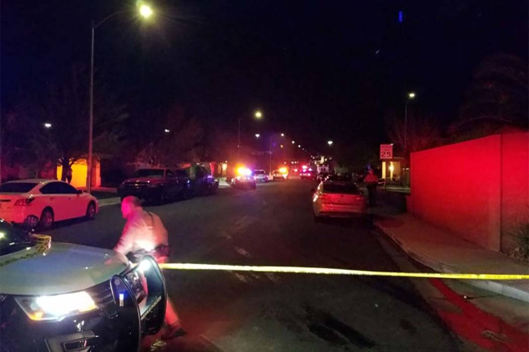 Las Vegas police are investigating the death of a man who was found in the backyard of a house on the 8000 block of Hesperides Avenue. (Mike Shoro/Las Vegas Review-Journal)