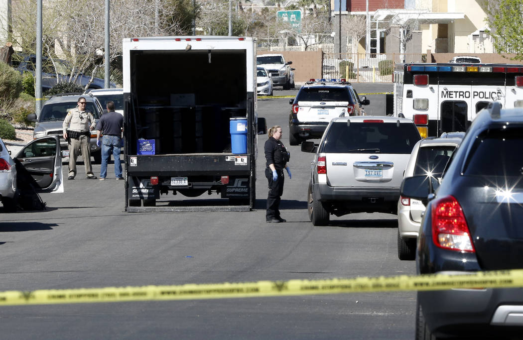 Las Vegas police are investigating the shooting death of a man at 8029 Hesperides Ave. on Tuesday, March 14, 2017, in Las Vegas. (Bizuayehu Tesfaye/Las Vegas Review-Journal) @bizutesfaye