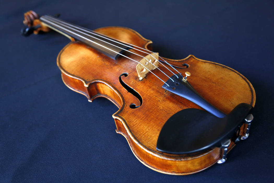In this Wednesday, March 8, 2017 photo, the Ames Stradivarius violin is seen in New York. After a meticulous restoration that took more than a year, the Ames Stradivarius violin that was stolen fr ...