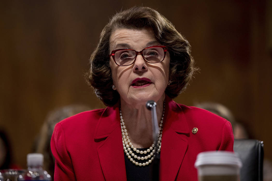 The Senate Judiciary Committee's ranking member Sen. Dianne Feinstein, D-Calif. speaks on Capitol Hill in Washington, Tuesday, Jan. 31, 2017, during the committee's business meeting to discuss the ...