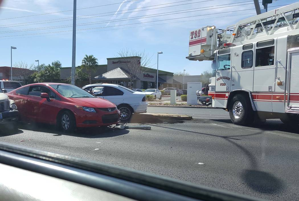 One person was killed and three others were injured in a multicar crash at Stephanie Street and Warm Springs Road in Henderson, Monday, March 13, 2017. (Rochelle Richards/Las Vegas Review-Journal)