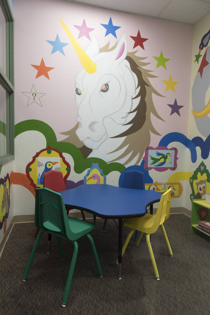 "Artist Sush Machida's mural entitled ""Hope Corridor"" is seen in a playroom at Child Haven at the Clark County Family Services Department in Las Vegas Monday, March 7, 2016. (Jason Ogulnik/Las Vega ..."