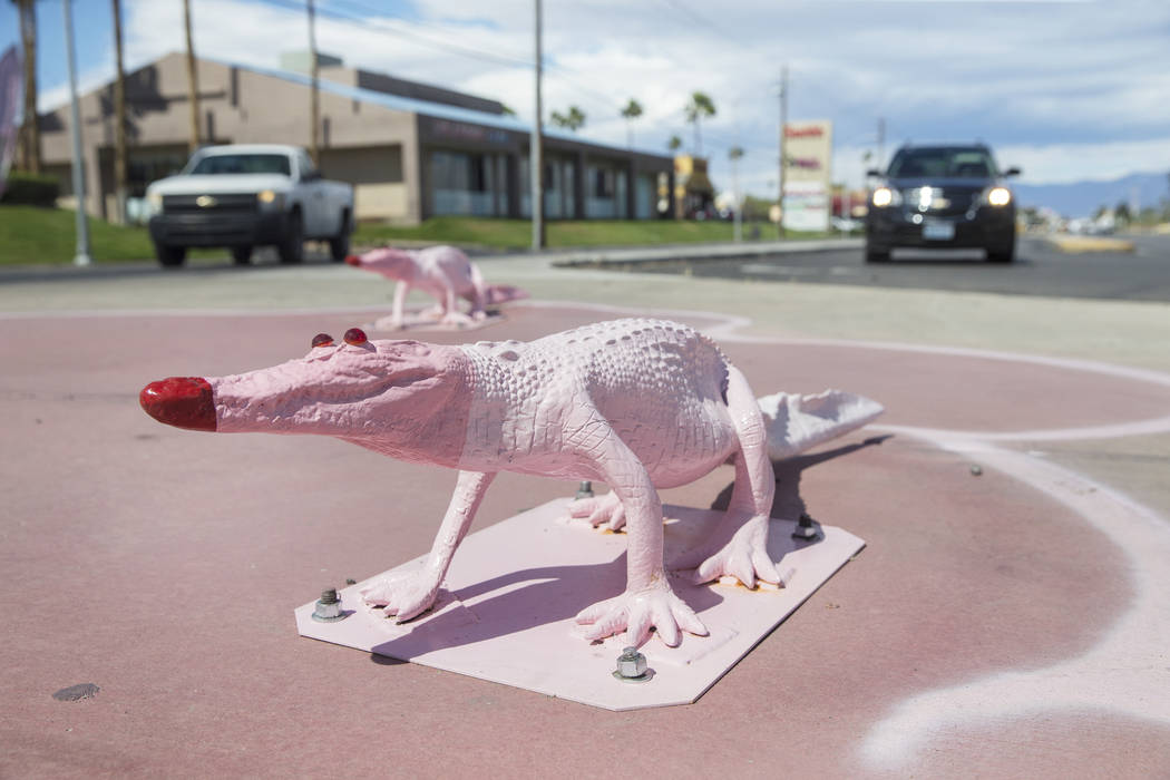 Public art by Chris Bauder at South Decatur Boulevard and West Flamingo Road on Tuesday, March 21, 2017, in Las Vegas. (Benjamin Hager/Las Vegas Review-Journal) @benjaminhphoto