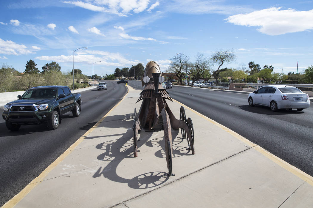 Public art by Adolfo Gonzalez on the Pecos-McLeod Drive Interconnect on Tuesday, March 21, 2017, in Las Vegas. (Benjamin Hager/Las Vegas Review-Journal) @benjaminhphoto