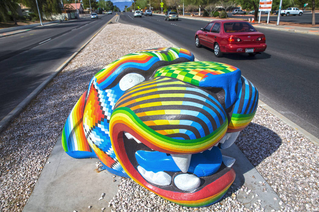 Public art by Miguel Rodriguez at East Desert Inn Road and McLeod Drive on Tuesday, March 21, 2017, in Las Vegas. (Benjamin Hager/Las Vegas Review-Journal) @benjaminhphoto