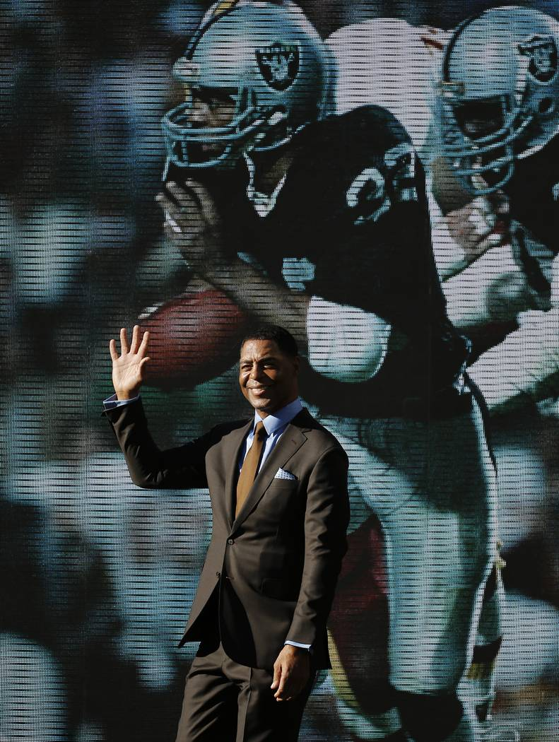Former football player Marcus Allen is introduced before the NFL Super Bowl 50 football game between the Denver Broncos and the Carolina Panthers, Sunday, Feb. 7, 2016, in Santa Clara, Calif. (AP  ...