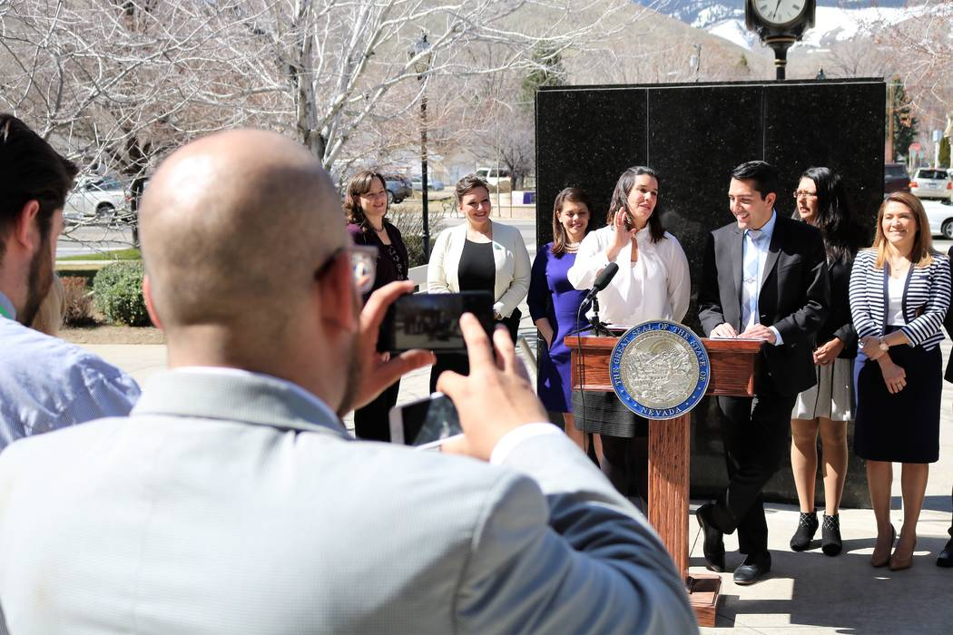 Sen. Yvanna Cancela, D-Las Vegas, and Assemblyman Nelson Araujo, D-Las Vegas, announce the creation of the Nevada Future Democratic Caucus, comprised of Democrat legislators under 40, March 14, 20 ...