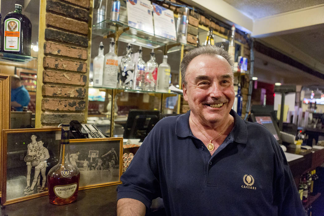 Rich Lupcho, graveyard Tap House Tavern bartender, former teammate of Pistol Pete Maravich at LSU, at the tavern located at 5589 West Charleston Blvd. in Las Vegas, Wednesday, March 15, 2017. (Eli ...