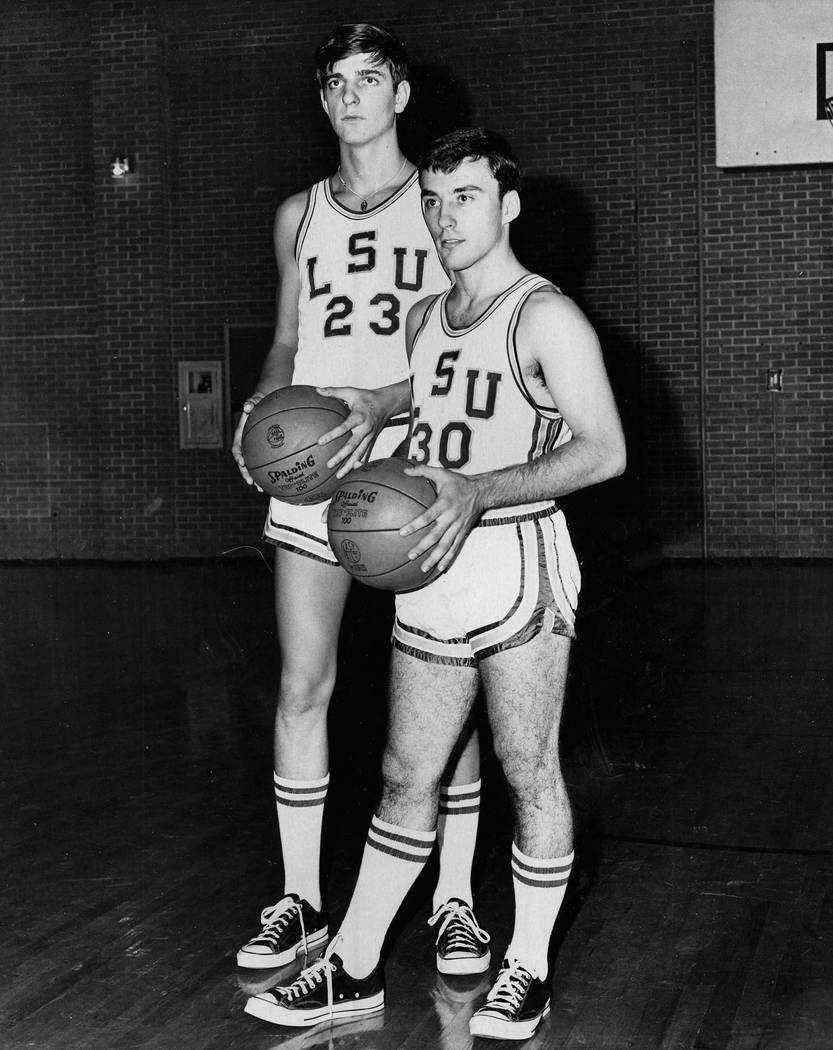 """LSU basketball players """"Pistol Pete"""" Maravich (23) and Rich Lupcho (30) in this 1967 photo. (Courtesy: Rich Lupcho)"""
