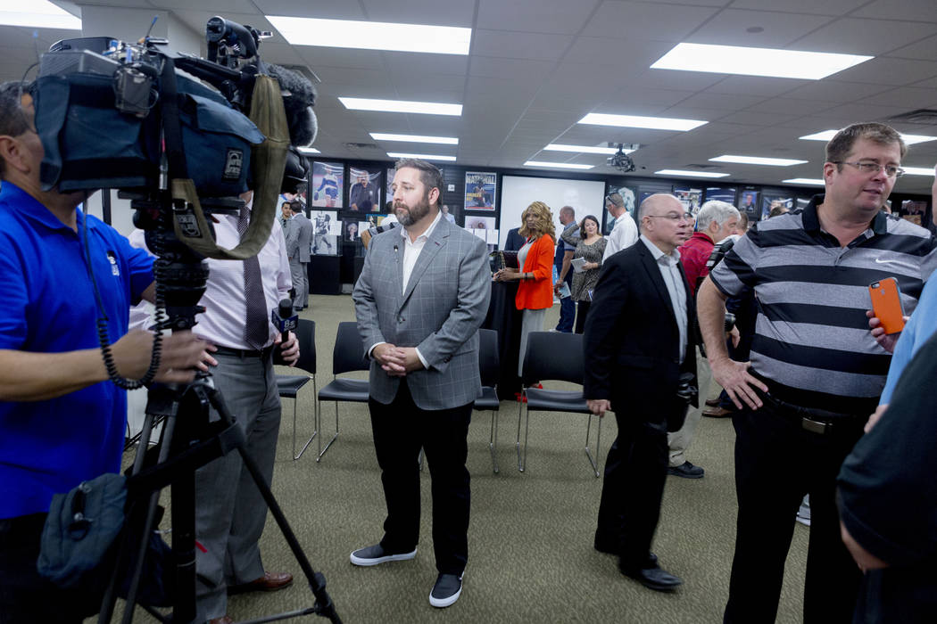 Director of the Las Vegas Bowl John Saccenti is interviewed after the announcement that the Las Vegas Bowl will be inducted into the Southern Nevada Sports hall of fame during a news conference at ...