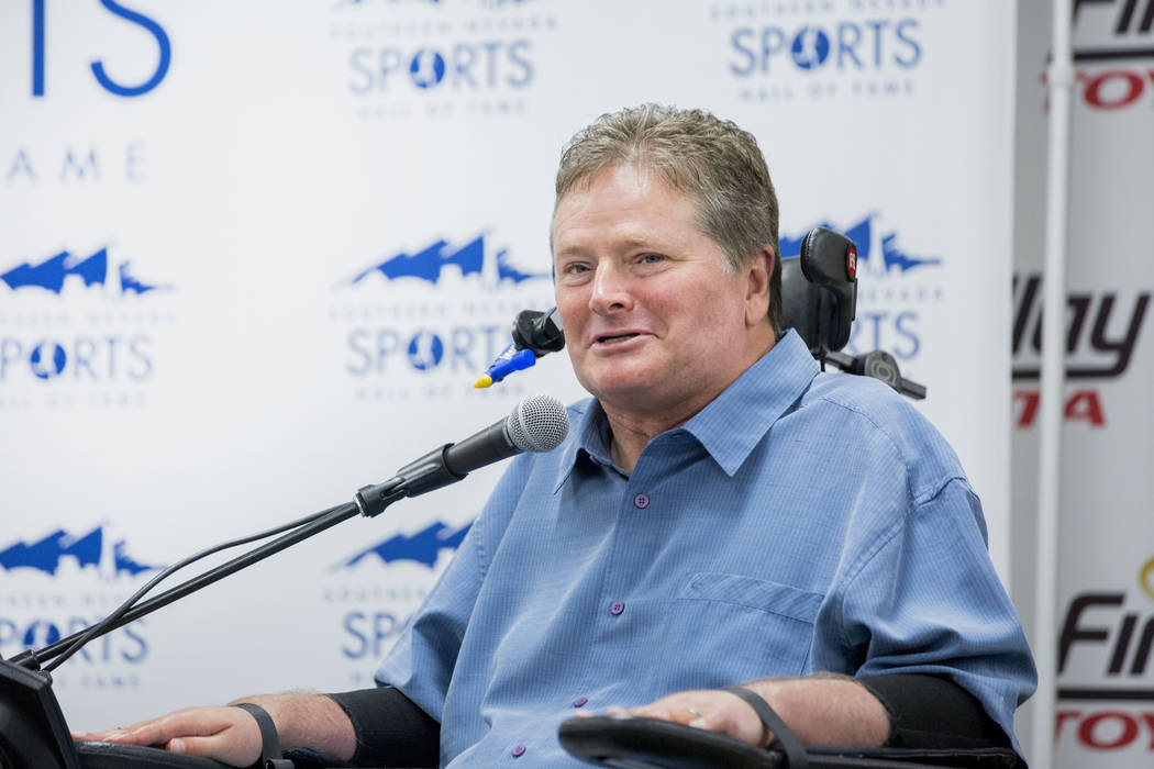 IndyCar driver Sam Schimdt speaks during a news conference for the Southern Nevada Sports hall of fame induction announcements at Findlay Toyota in Henderson, Tuesday, March 14, 2017. (Elizabeth B ...