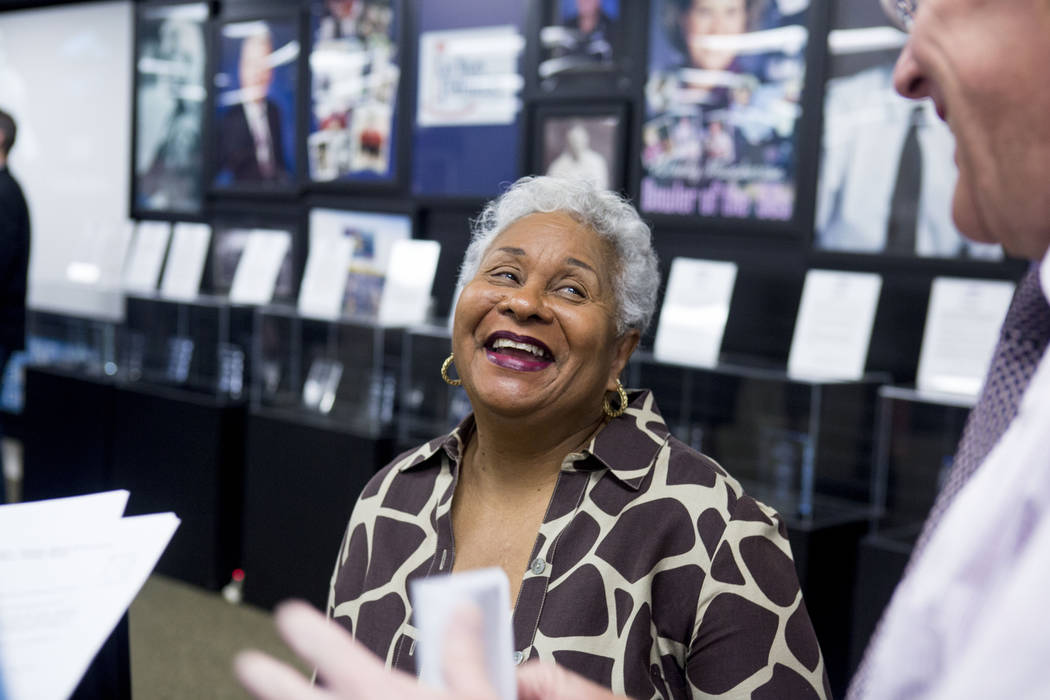 Connie Curtis at a news conference for the Southern Nevada Sports hall of fame induction announcements on behalf of her late husband Overton Curtis, Findlay Toyota in Henderson, Tuesday, March 14, ...