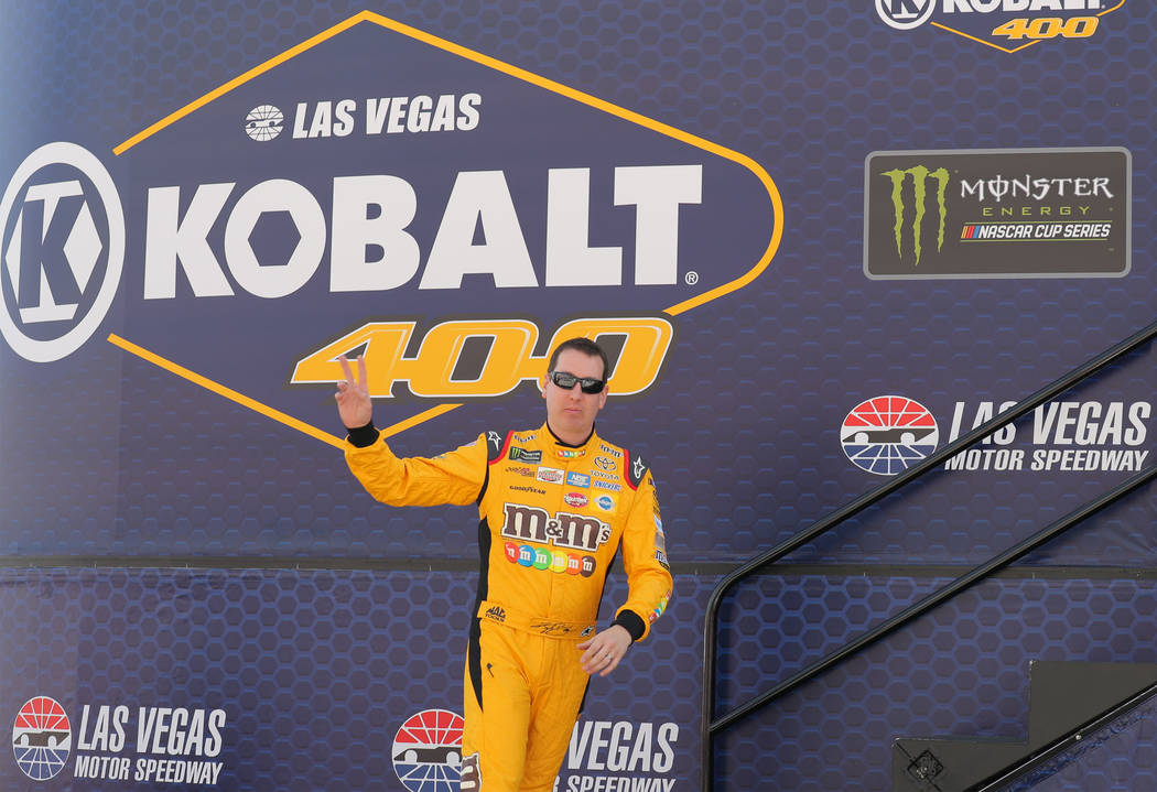 Kyle Busch (18) is introduced before the Monster Energy NASCAR Cup Series Kobalt 400 auto race at Las Vegas Motor Speedway in Las Vegas, Sunday, March 12, 2017. (Bridget Bennett /Las Vegas Review- ...