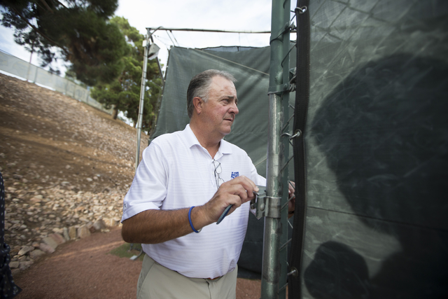 Las Vegas 51s president Don Logan gives a tour of the Cashman Field outdoor batting cage before the start of the last game of the season on Saturday, Aug. 27, 2016, in Las Vegas. (Erik Verduzco/La ...