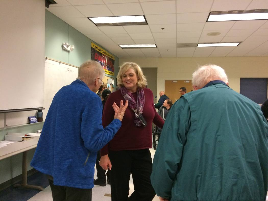 Residents hear from Kathy Cassell, crime-prevention specialist with the Metro Police Department, about documenting valuables on Feb. 7 at Northwest Area Command. (JAN HOGAN/VIEW)