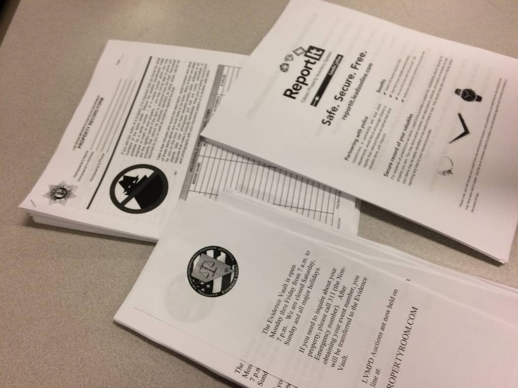 Fliers handed out at Northwest Area Command, 9850 W. Cheyenne Ave., are seen March 1. They help homeowners document their valuables. Metro's area commands host First Tuesdays each month covering ...