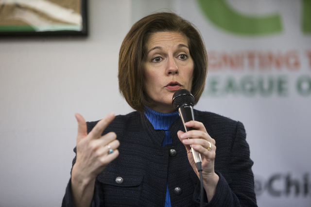 U.S. Sen. Catherine Cortez Masto, D-Nev., speaks during a panel discussion event hosted by the League of Conservation Voters Chispa Nevada, Thursday, Feb. 23, 2017, in Las Vegas. Cortez Masto and  ...