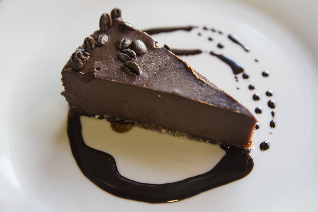 The chocolate espresso coconut vegan cheesecake at the Bronze Cafe on Friday, March 17, 2017, in Las Vegas. (Benjamin Hager/Las Vegas Review-Journal) @benjaminhphoto