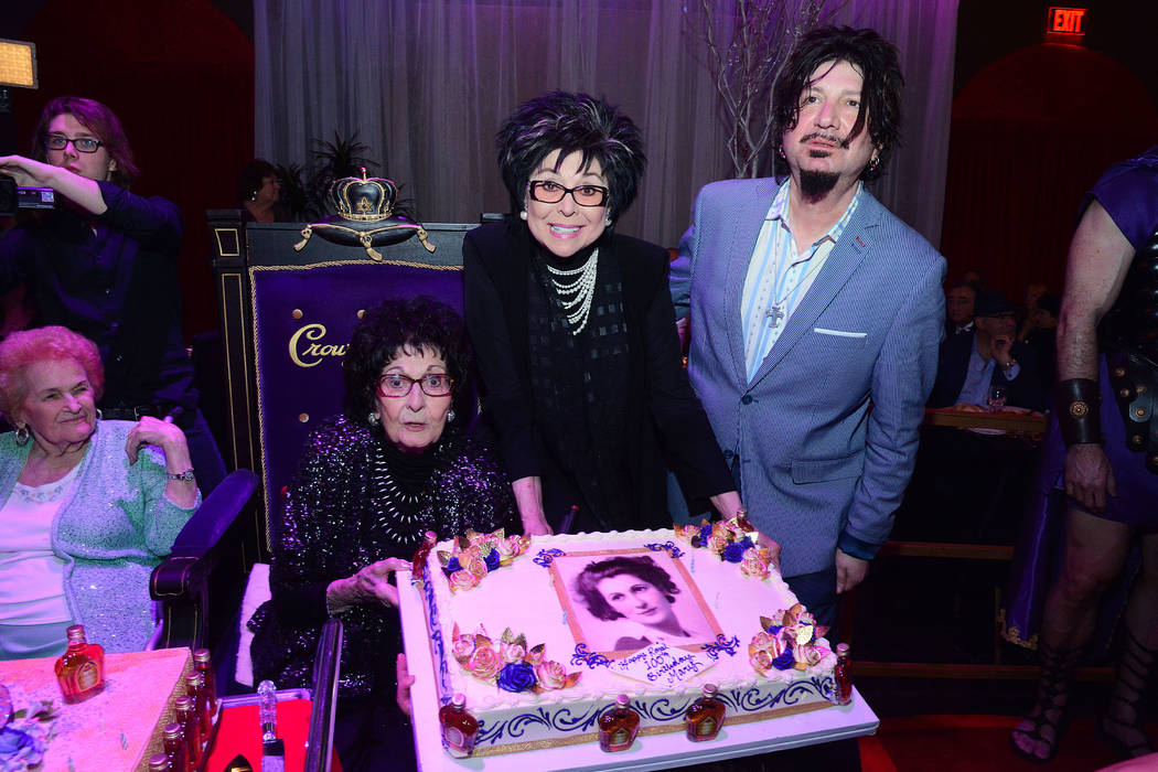 """Mama Maria"" Perry is shown with her daughter, Lorraine Hunt-Bono, and grandson Ron Mancuso during her 100th birthday at Copa Room at the Bootlegger Bistro on  Monday, March 13, 2017. (Steve Spata ..."