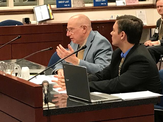 State Sen. Joe Hardy, left, R-Boulder City, and legislative intern James Ringel present Senate Bill 140 to the Senate Judiciary Committee on Monday in Carson City. The bill would authorize certain ...
