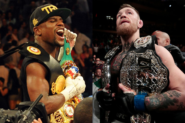 A composite of Floyd Mayweather Jr. and Conor McGregor.   Agencia