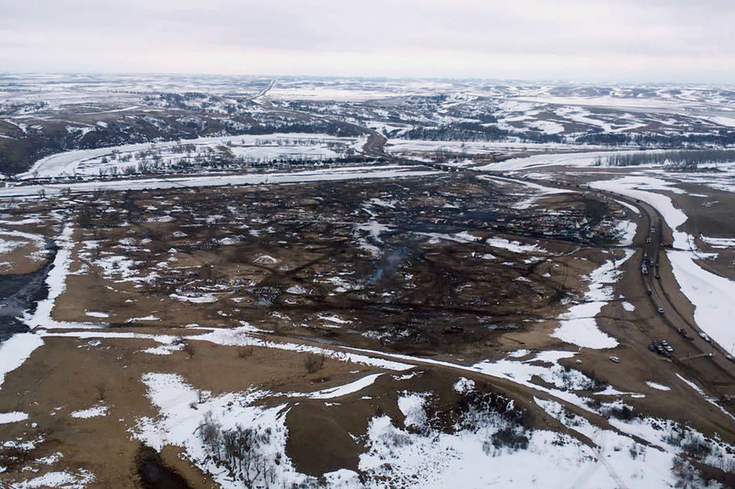 This aerial photo provided the Morton County Sheriff Department shows the closed Dakota Access pipeline protest camp near Cannon Ball, N.D., Thursday, Feb. 23, 2017. (Morton County Sheriff Departm ...