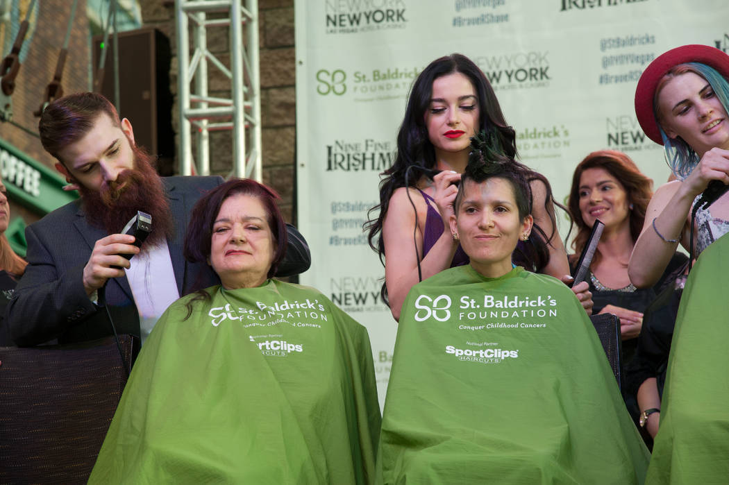 """Absinthe"" and ""Baz — Star Crossed Lovers"" cast members take part in St. Baldrick's Day at New York-New York on Saturday, March 11, 2017, in Las Vegas. (Courtesy)"