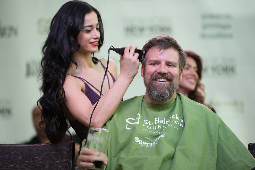 "Emily England of ""Absinthe"" takes part in St. Baldrick's Day at New York-New York on Saturday, March 11, 2017, in Las Vegas. (Courtesy)"