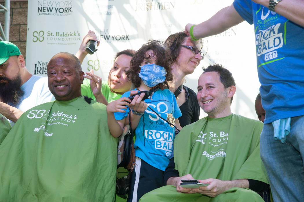 Elan Saula and Leslie Saula participate in St. Baldrick's Day at New York-New York on Saturday, March 11, 2017, in Las Vegas. (Courtesy)
