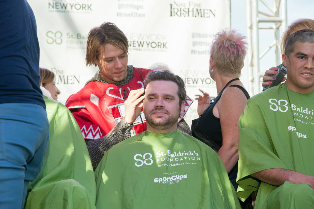 A Tournament of Kings cast member participates in St. Baldrick's Day at New York-New York on Saturday, March 11, 2017, in Las Vegas. (Courtesy)