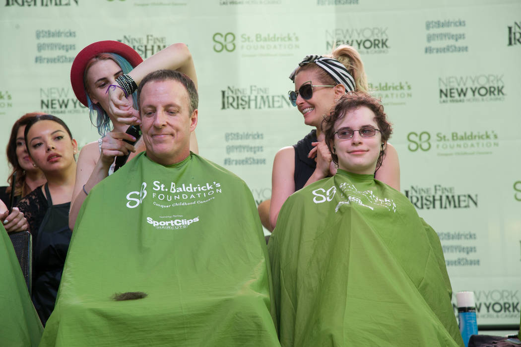 """Baz — Star Crossed Lovers"" cast members take part in St. Baldrick's Day at New York-New York on Saturday, March 11, 2017, in Las Vegas. (Courtesy)"