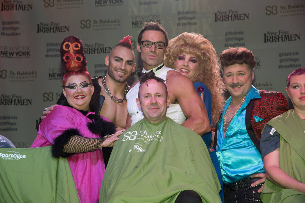 """Zumanity"" cast members take part in St. Baldrick's Day at New York-New York on Saturday, March 11, 2017, in Las Vegas. (Courtesy)"