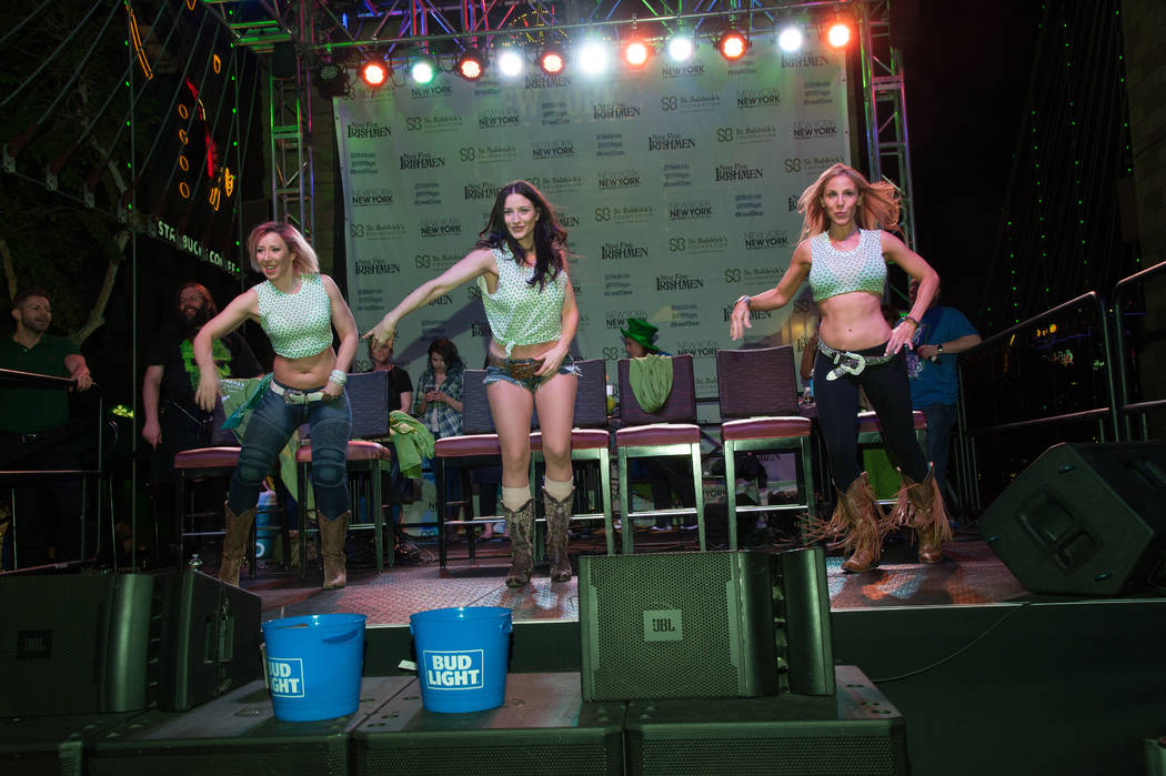Coyote Ugly employees perform during St. Baldrick's Day at New York-New York on Saturday, March 11, 2017, in Las Vegas. (Courtesy)