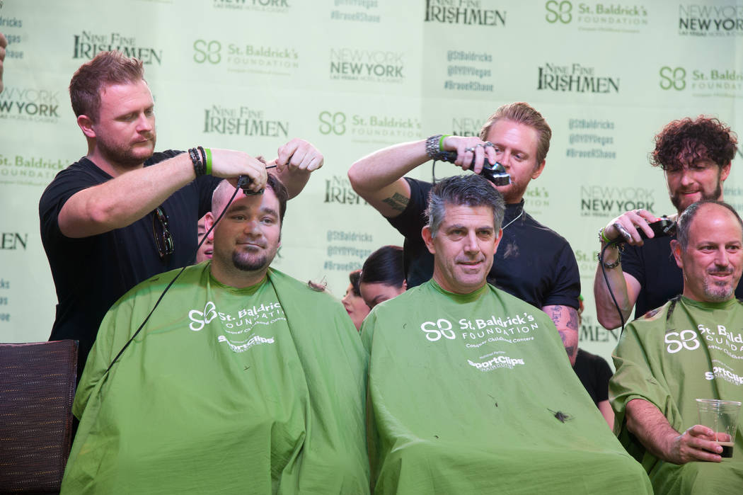 Harrah's headliners Tenors of Rock take part in St. Baldrick's Day at New York-New York on Saturday, March 11, 2017, in Las Vegas. (Courtesy)