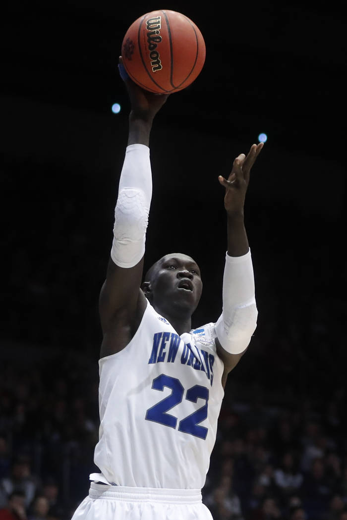 New Orleans' Makur Puou shoots in the second half of a First Four game of the NCAA college basketball tournament against Mount St. Mary's, Tuesday, March 14, 2017, in Dayton, Ohio. Mount St. Mary' ...