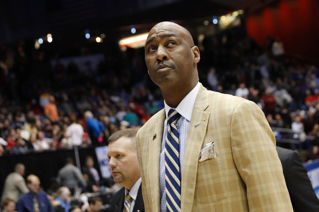Wake Forest head coach Danny Manning walks off the court during halftime of a First Four game of the NCAA college basketball tournament against Kansas State, Tuesday, March 14, 2017, in Dayton, Oh ...