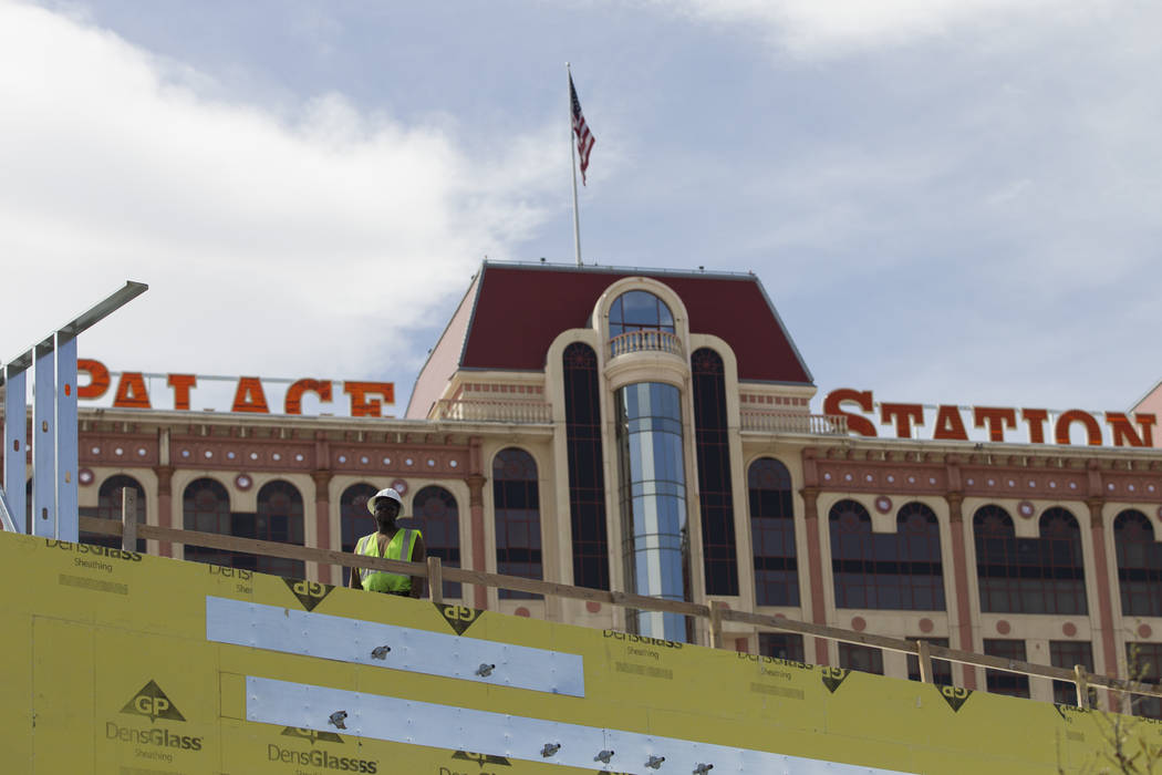 A worker stands on the roof of a building currently under construction at Palace Station hotel-casino on Wednesday, March 15, 2017, in Las Vegas. (Erik Verduzco/Las Vegas Review-Journal) @Erik_Ver ...