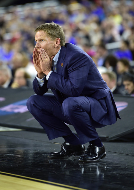 Mar 27, 2015; Houston, TX, USA; Gonzaga Bulldogs head coach Mark Few reacts during the first half in the semifinals of the south regional of the 2015 NCAA Tournament against the UCLA Bruins at Rel ...