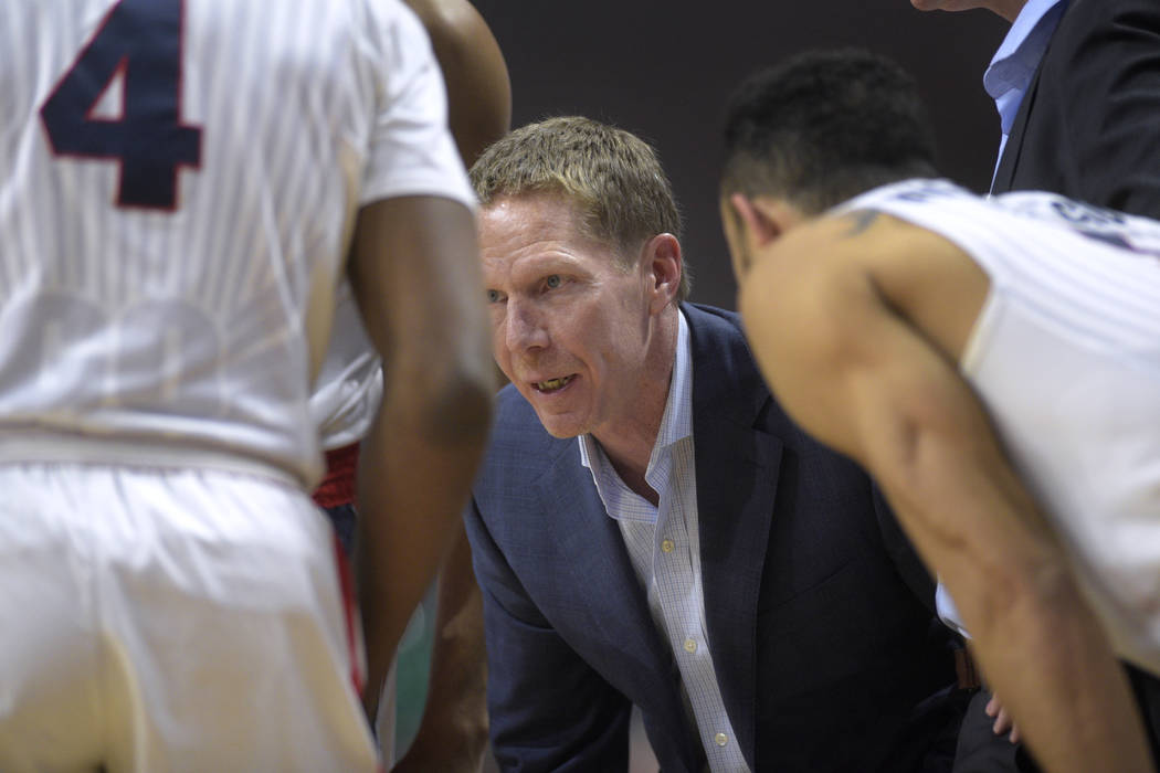 Gonzaga head coach Mark Few talks to his team during a timeout during their West Coast Conference tournament game against Pacific Saturday, March 4, 2016, at the Orleans Arena. Gonzaga won the gam ...