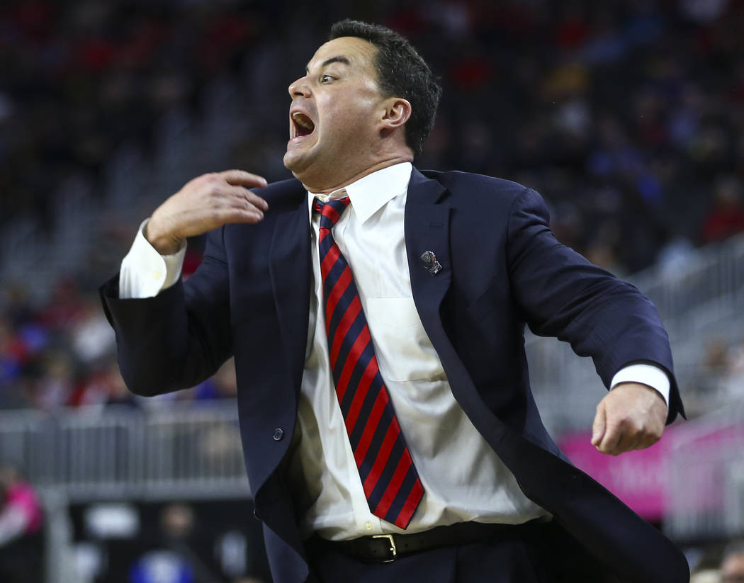 Arizona head coach Sean Miller reacts as his team plays Colorado during the Pac-12 Conference basketball tournament at the T-Mobile Arena in Las Vegas on Thursday, March 9, 2017. Arizona won 92-78 ...
