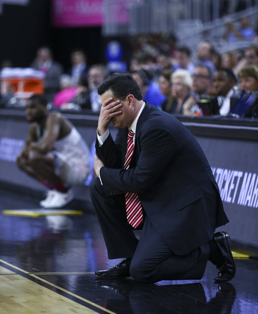 Arizona head coach Sean Miller reacts as his team plays UCLA during the Pac-12 Conference basketball tournament semifinals at the T-Mobile Arena in Las Vegas on Friday, March 10, 2017. Arizona def ...