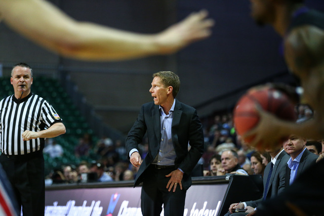 Gonzaga head coach Mark Few motions to his team as they play Portland during the West Coast Conference basketball tournament quarterfinals at the Orleans Arena in Las Vegas on Saturday, March 5, 2 ...