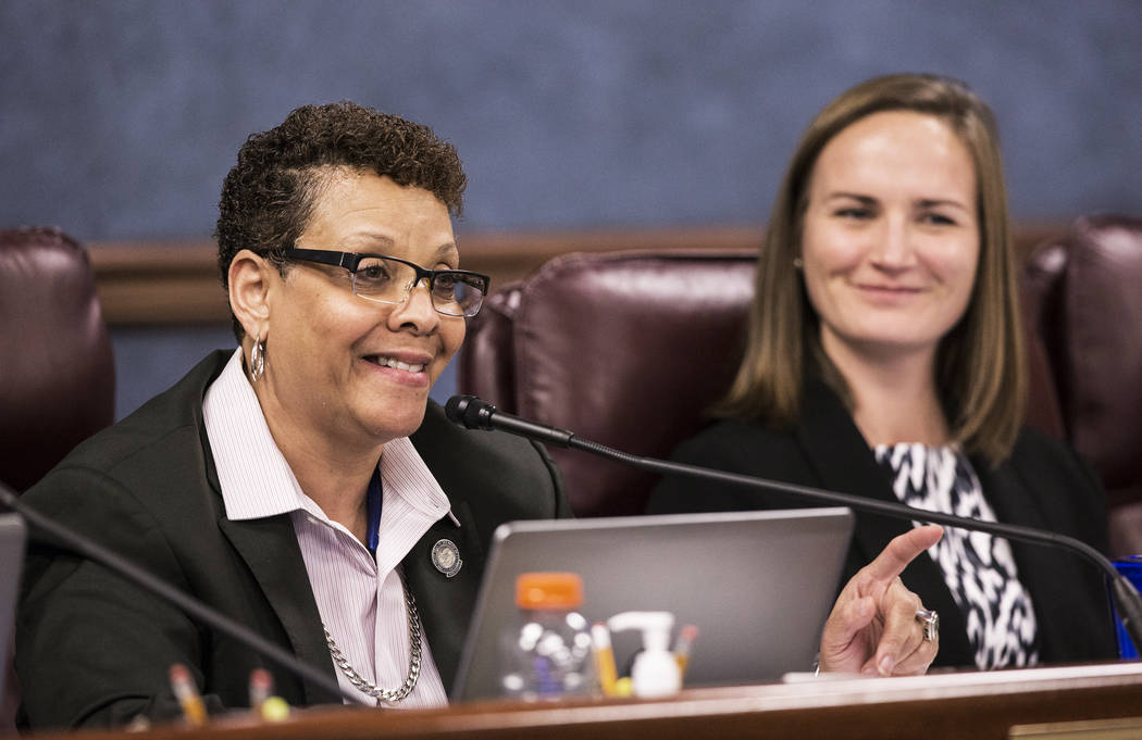 Sen. Pat Spearman, D-North Las Vegas, left, addresses attendees at a Senate Health and Human Services  committee meeting at the Nevada Legislative session on Wednesday, Feb. 8, 2017, at the Legisl ...