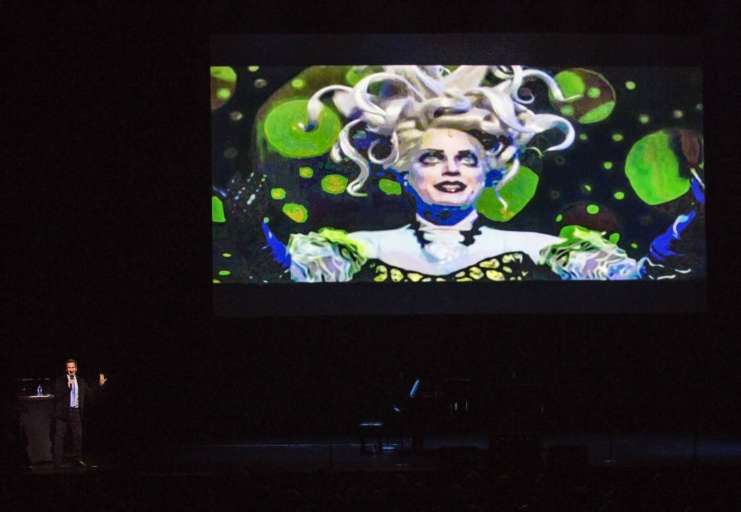 Host Seth Rudetsky introduces a clip from The Little Mermaid during a preview event for the upcoming 2017-18 Broadway season at The Smith Center on Tuesday, Feb. 28, 2017, in Las Vegas. (Benjamin  ...