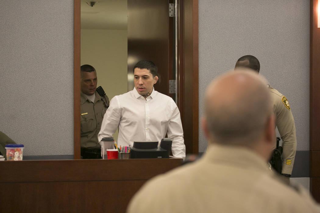 War Machine, also known as Jonathan Koppenhaver walks into the courtroom at the Regional Justice Center Thursday, March 16, 2017, in Las Vegas. (Bridget Bennett/Las Vegas Review-Journal) @bridgetkb